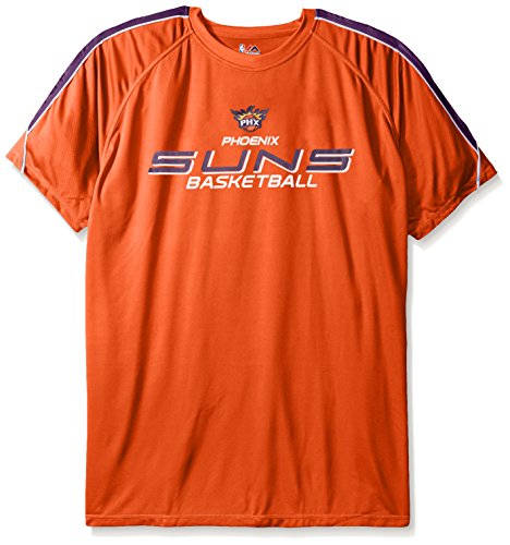 Profile Big & Tall NBA Phoenix Suns Men's Short Sleeved Birdseye Crew T-Shirt with Shoulder Piecing, 3X, Dark Orange