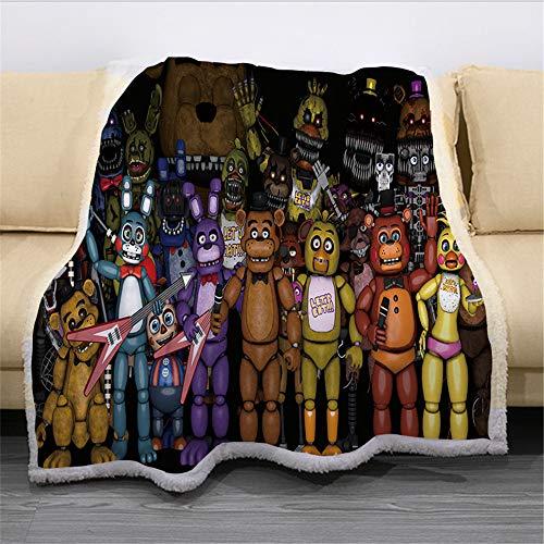 Nichiyo Five Nights at Freddy's FNAF - Manta de forro polar extracálida para sofá, manta para adultos y niños, microfibra para sofá de cama y manta (11,150 x 130 cm)