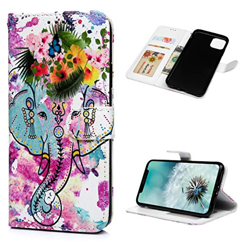 Tom's Village Relief Colorful Printed Wallet Case for iPhone 11 Pro Max PU Leather Magnetic Flip Cover Shockproof Flexible Soft TPU Ultra Slim Protective Bumper ID/Credit Card Slots Kickstand Elephant