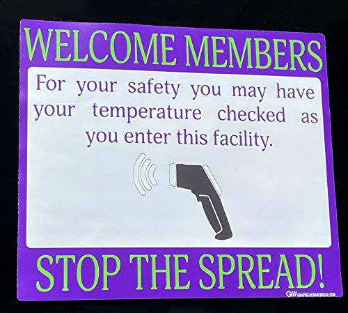 """Gym'Temperature Check' COVID-19 (Coronavirus), Durable Vinyl Banner- 36x24"""" Sign by Graphical Warehouse- Visual Communication Tool (Green/Purple)"""