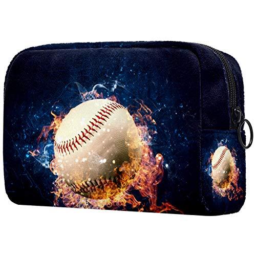Bolsa de cosméticos Burning Baseball suave con cremallera, organizador de viaje para mujeres y niñas 18,5 x 7,6 x 13 cm