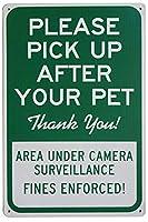 安全標識-通知標識-あなたのペットの後に拾ってください、ありがとう。庭の庭のための金属錫サインアート装飾