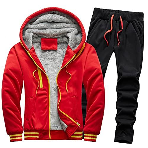 URIBAKY - Disfraz para hombre, color liso, deportivo, talla grande, chaqueta de abrigo de terciopelo, gruesa, ms gruesa, para actividades de ocio, para ir al aire libre., rojo, L