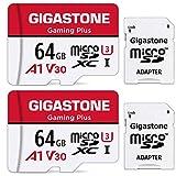 Gigastone Carte Mémoire 64 Go Lot de 2 Cartes, Gaming Plus Série, Vitesse de Lecture allant jusqu'à 95 Mo/s. A1 U3 V30 Carte Micro SDXC pour Nintendo Switch Caméra Full HD vidéo avec Adaptateur SD.
