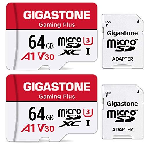 Gigastone Gaming Plus 64GB MicroSDXC Speicherkarte 2er-Pack und SD Adapter, Actionkameras und Drohnen, Lesegeschwindigkeit bis zu 95MB/s, Full HD-Videoaufnahme, Micro SD Karte UHS-I A1 U3 Klasse 10