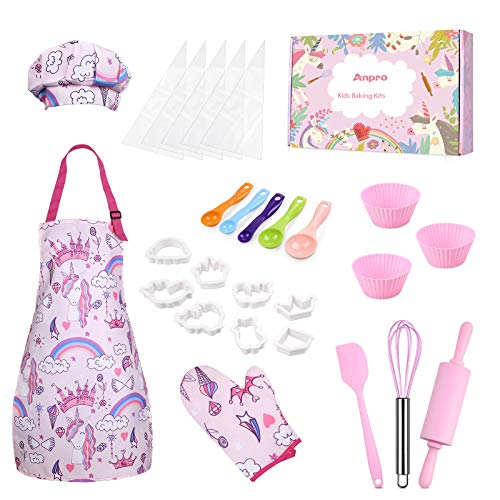 Anpro Complete Kids Cooking and Baking Set - 27 Pcs Includes Aprons for Girls, Chef Hat, Mitt & Utensil to Dress Up Chef Costume Career Role Play for 8-12 Years Girls