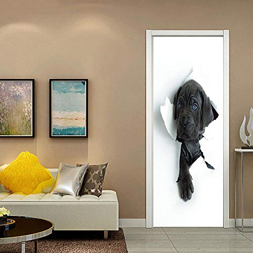 lzdyaya Kreative 3D Hund Tür Aufkleber Poster Tür Dekoration Aufkleber Porte Klebstoff Abnehmbare Tapete Aufkleber An Den Türen