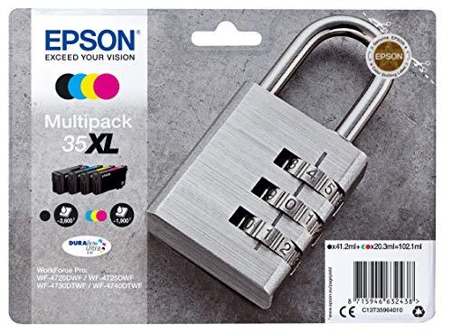 Epson Original 35XL Tinte Schloss (WF-4720DWF WF-4725DWF WF-4730DTWF WF-4740DTWF) Amazon Dash Replenishment-fähig, Multipack, 4-farbig