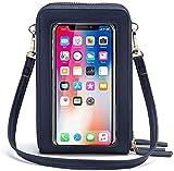 HUKTOR Bolso bandolera para teléfono móvil para mujer, pantalla táctil, resistente al agua, bolso de mano, de piel, cartera, retro, para iPhone 11 Pro/11/Xs Max/XR/Xs, color Azul, talla 12 * 7 * 19 cm
