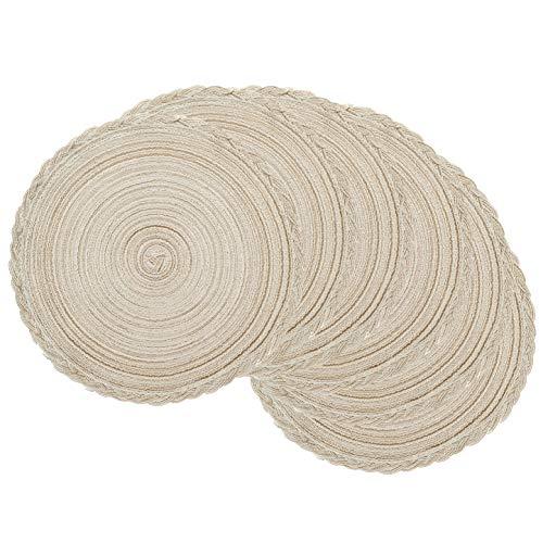 U'Artlines Place Mat, Juego de 6 manteles de Hilo de Algodón Trenzado Round-shapped DE 14-Inch Round-shapped (Crema)