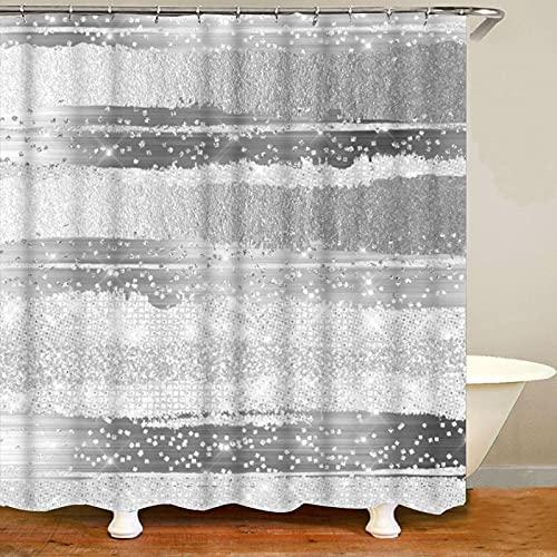 XCBN Stilvoller silbergrauer Duschvorhang mit gestrichelter Linie für die trockene & feuchte Trennung von Bad. Wasserdichter & schimmelresistenter Duschvorhang A4 180X200CM