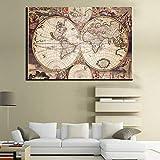 HGlSG Nostalgia Cartel Retro Grande del Mapa del Mundo Vintage Impresiones en Lienzo Arte de la Pared pósters Living Room Wall Imagen para Living Room A2 60x80cm