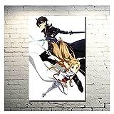 Tiiiytu Sword Art Online 2 Kirito Asuna Póster Impreso Imágenes De Anime para Dormitorio Decoración De Sala De Estar para Decoración De Pared -50X70Cm Sin Marco