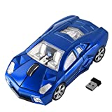 FIRSTMEMORY Wireless Car Mouse, 2.4G Cool Sport Race Car Shaped Mouse Wireless Optical Car Computer Mouse,1600 DPI for PC Laptop Desktop (Blue)