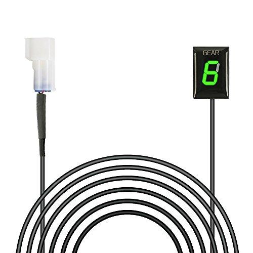 Ganganzeige Motorrad, IDEA Wasserdichte 6 Speed LED Digital Display Schaltanzeige Schalthebel Plug & Play für Kawasaki (Grün)