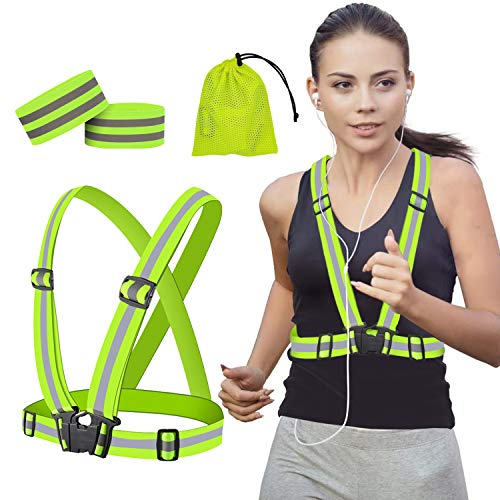 Reflective Vest High Visibility Safety Vests Adjustable Reflective Running Gear Hi Vis Reflective Straps with Wristbands Straps Safety for Night Cycling,Hiking,Jogging, Walking Outdoor Activity Fits on Women Men Kid