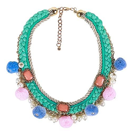 AMOZ Collar de Tejido con Colgante de Pompones de Perlas de Imitación para Mujer, Collares de Cadena de Clavícula Trenzada Trenzada de Múltiples Capas, Joyería de Declaración Geométrica de Estilo Boh