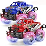 2 Pack Light Up Monster Truck Car Toy with Beautiful Flashing LED Tires, Best Birthday Gift for Boy Girl Ages 3+, Push n Go Cars, Friction Toy, Race Truck Car for Kid Party Favors and Daily Play