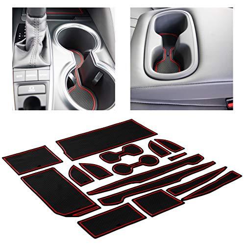 CupHolderHero fits Toyota Camry Accessories 2018-2021 Premium Custom Interior Non-Slip Anti Dust Cup Holder Inserts, Center Console Liner Mats, Door Pocket Liners 16-pc Set (Red Trim)
