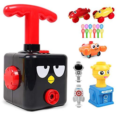 DRBZ Juego de juguetes de coches con bomba para niños lanzador de carreras aerodinámico con bomba de globo inflable juguetes científicos para niños y niñas (pájaro negro)