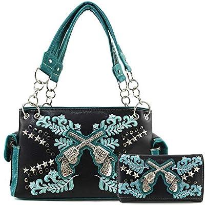 Justin West Cross Guns Western Floral Damask Embroidery Studs Stars Concealed Carry Handbag Purse (Black Turquoise Handbag Wallet Set)
