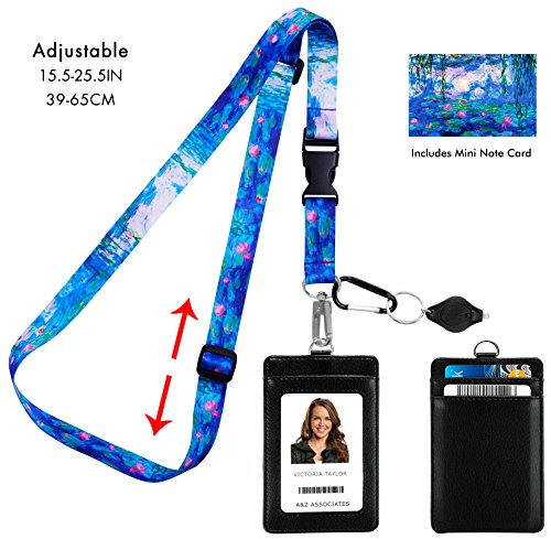 Claude Monet Water Lilies 1917 Adjustable Lanyard with PU Leather ID Badge Holder with 3 Card Pockets & Matching Note Card. Carabiner Keychain Flashlight. Adjustable 15.5