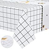 Zhjdongtuo Wash Free Simple Patterned Tablecloth - Oil-Proof Waterproof and Anti-scalding Rectangle Square Table Cloth Wipeable Vinyl Table Cover for Kitchen,Outdoor,Picnic