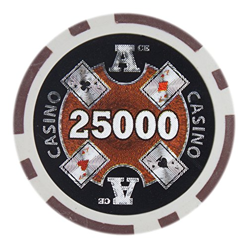 Brybelly Ace Casino Poker Chip Heavyweight 14-Gram Clay Composite – Pack of 50 ($25000 Brown)