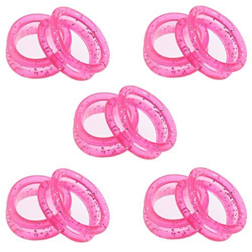 10 x Premium Fingerringe, Fingereinsätze für Haarscheren, Ringe für Friseurscheren - Rosa