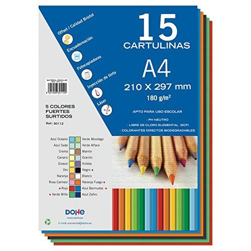 Dohe - Cartoncino 50 fogli A4, 5 colori Forti assortiti
