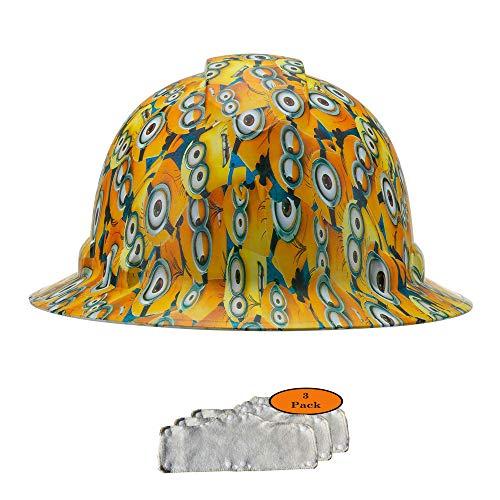 Full Brim Hard Hat, Minions Design Safety Helmet 6pt + 3pk Beige Hard Hat Sweatband, by Acerpal