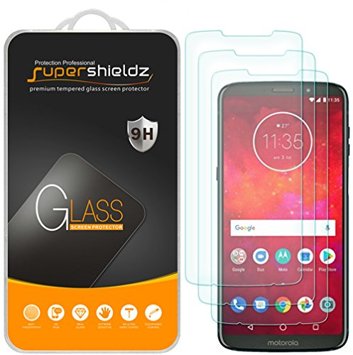 (3 Pack) Supershieldz Designed for Motorola Moto Z3 and Moto Z3 Play Tempered Glass Screen Protector, 0.33mm, Anti Scratch, Bubble Free