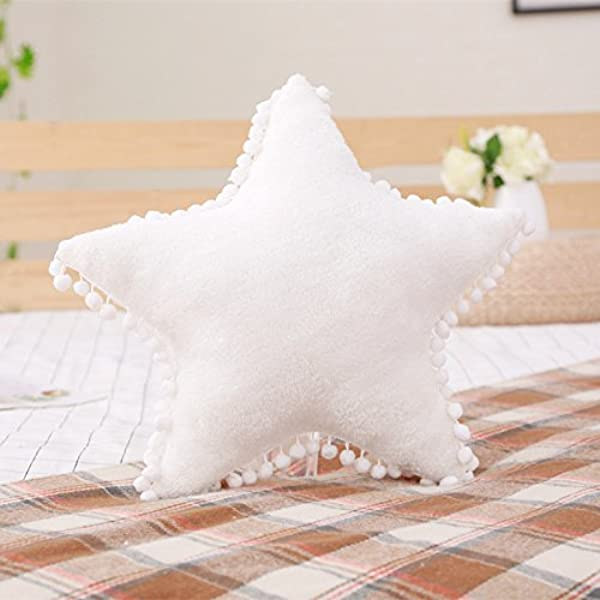 Creative Star Moon And Cloud Plush Pillows Stuffed Toys White Star