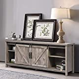 Farmhouse TV Stand Sliding Barn Door Wood Entertainment Center, Living Room Storage Cabinet Media Console w/Doors and Shelves TV's up to 65', Rustic Gray Wash