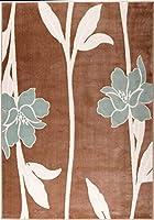 Ladole Rugs ブルーフラワーパターンデザイン 丈夫 屋内 美しいエリアラグ カーペット ブラウン 8x11 (7フィート10インチ x 10フィート5インチ、240cm x 320cm)