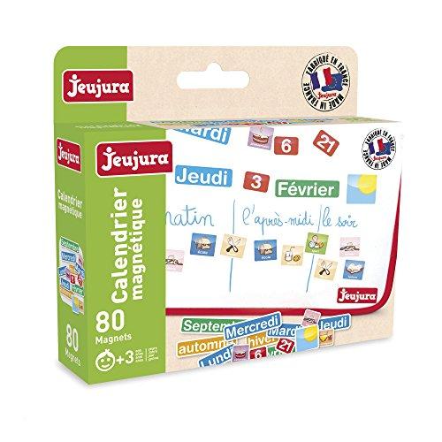 Jeujura - 8971-Tableau en Bois-Magnets Calendrier - Coffret de 80 Caracteres