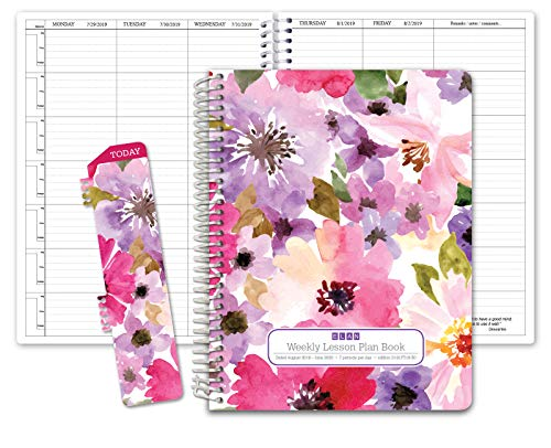 HARDCOVER 7 Period Dated Teacher Lesson Plan; Days Horizontally Across The Top Dated for 2019-2020 Academic Year (D101) (+) Bonus Clip-in Bookmark (Spring Floral)