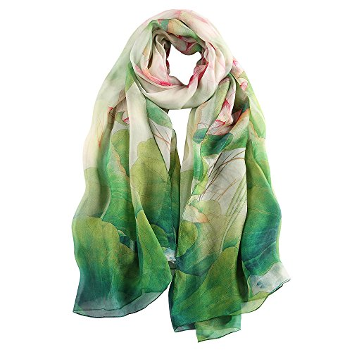 STORY OF SHANGHAI Womens 100% Mulberry Silk Head Scarf For Hair Ladies Floral And Butterfly Scarf,Green Lotus,One Size