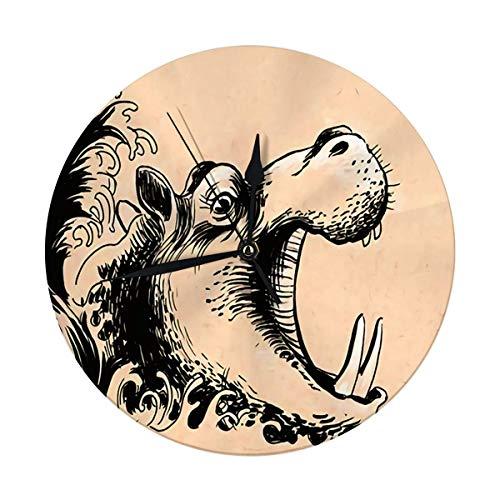 FETEAM Reloj de Pared Decorativo, Gran hipopótamo en el Agua de 9,8 Pulgadas, Reloj Redondo Digital