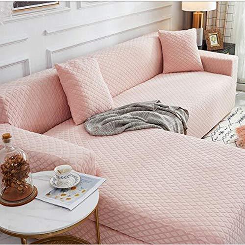 Funda de sofá Fundas de sofá elásticas en Forma de L Funda de sofá Universal (El sofá de Esquina en Forma de L Necesita Comprar Dos),Rosado,3 Seater