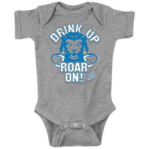 Rookie Wear by Smack Apparel Detroit Football Fans. Drink Up Roar On! Grey Onesie (NB-18M) (Onesie, 6M)