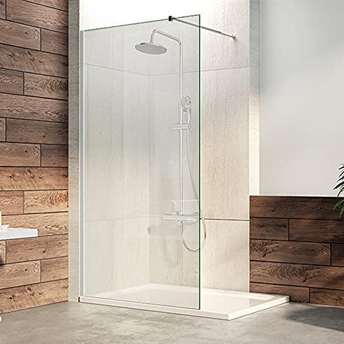 Duschwand Duschabtrennung Glas 80/90/100/120 x 200 cm Walk in Dusche mit Stabilisator aus 8mm NANO Glas Duschabtrennung Duschkabine (80cm, Klarglas)