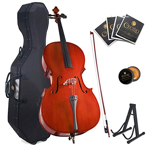 Cecilio Size 4/4 (Full Size) Student Cello with Hard & Soft Case, Stand, Bow, Rosin, Bridge and...