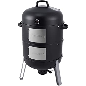 SUNLIFER 20.5 Inch Vertical Charcoal Smoker and Grill Combo, Heavy-Duty BBQ Smokers with Cover for Outdoor Cooking Camping