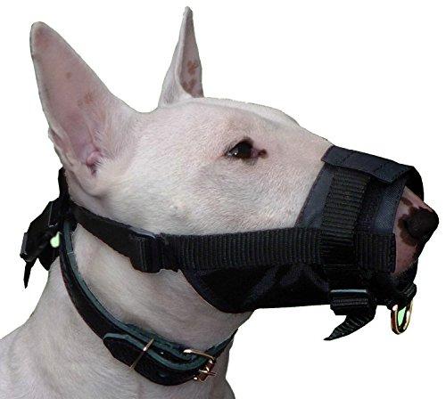 Maulkorb für Hunde, verstellbar, Nylon, 25,4 - 33,8 cm, Größe L, Schwarz, Bullterrier, Boxer, Dobermann, Deutscher Schäferhund