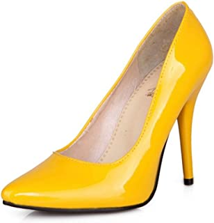 9fbdb9013a8 TAOFFEN Women Stiletto Pumps Patent Solid Wedding Party High Heel Shoes  Pointed Toe Heels