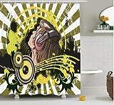 SFSDF Rideau de Douche Musique Illustration Abstraite d'un Casque Disco Dance Striped Background Image Print Polyester Rideau de Douche de Salle de Bains 180x200cm