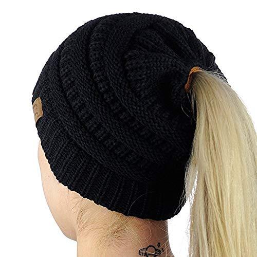 WINSTON-UK Multifunktions-Strickmütze Unisex Schal Stretch Cable Beanie Hat Damen Winter Warme Mütze für Messy Ponytail (Schwarz)