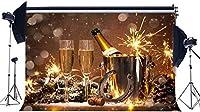 HDハッピーHD年2021背景10x7ftビニールクリスマス背景シャンパンラッキーチャーム馬蹄形ボトルバケットボケ写真背景HD年イブセレーションフォトスタジオ小道具BL52