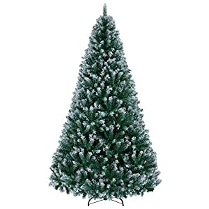 YAHEETECH 7.5ft Unlit Spray White Snow Dusted Hinged Artificial Full Christmas Spruce Tree with 1346 Branch Snow Tips and Metal Stand, White Xmas Tree for Holiday Decoration